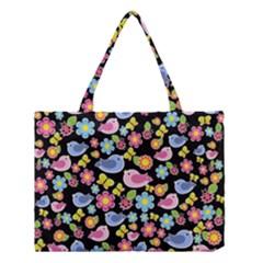 Spring Pattern   Black Medium Tote Bag by Valentinaart