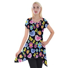 Spring Pattern   Black Short Sleeve Side Drop Tunic