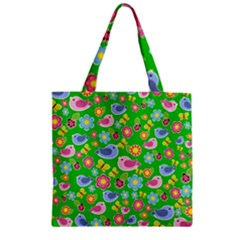 Spring Pattern   Green Zipper Grocery Tote Bag by Valentinaart