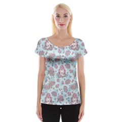 Space Roses Women s Cap Sleeve Top by electrogiraffe