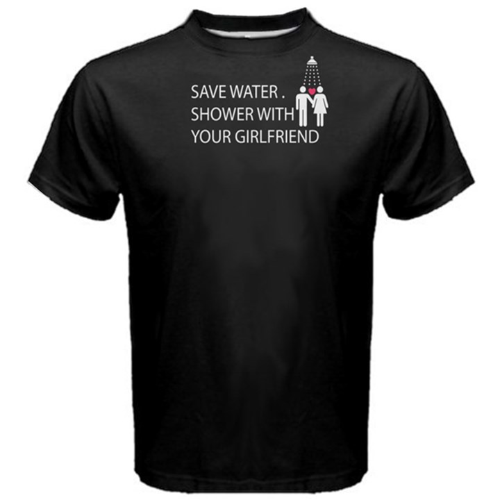 Black save water shower with your girlfriend Men s Cotton Tee