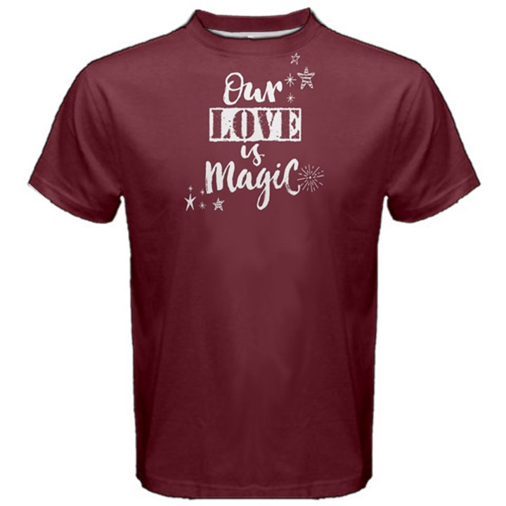Red our love is magic  Men s Cotton Tee