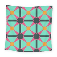 Pink Stars Pattern                                                         Square Tapestry by LalyLauraFLM