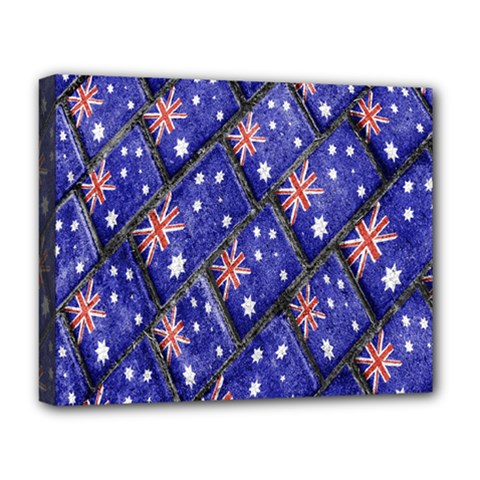 Australian Flag Urban Grunge Pattern Deluxe Canvas 20  X 16   by dflcprints