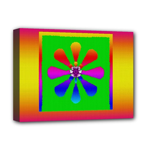 Flower Mosaic Deluxe Canvas 16  X 12   by pepitasart
