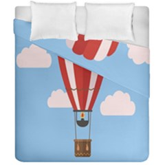 Air Ballon Blue Sky Cloud Duvet Cover Double Side (california King Size) by Jojostore