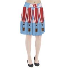 Air Ballon Blue Sky Cloud Pleated Skirt by Jojostore