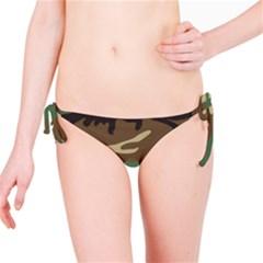 Army Shirt Green Brown Grey Black Bikini Bottom
