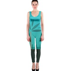 Coconut Palm Trees Sea Onepiece Catsuit by Jojostore