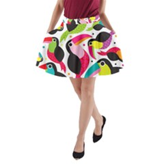 Colorful Toucan Retro Kids Pattern Bird Animals Rainbow Purple Flower A-Line Pocket Skirt