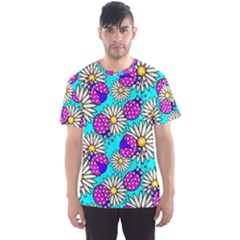 Bunga Matahari Serangga Flower Floral Animals Purple Yellow Blue Pink Men s Sport Mesh Tee