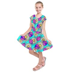 Bunga Matahari Serangga Flower Floral Animals Purple Yellow Blue Pink Kids  Short Sleeve Dress