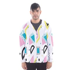 Design Elements Illustrator Elements Vasare Creative Scribble Blobs Yellow Pink Blue Hooded Wind Breaker (men)