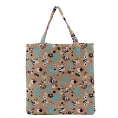 Deer Cerry Animals Flower Floral Leaf Fruit Brown Black Blue Grocery Tote Bag