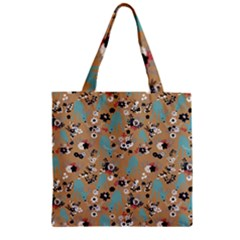 Deer Cerry Animals Flower Floral Leaf Fruit Brown Black Blue Zipper Grocery Tote Bag by Jojostore