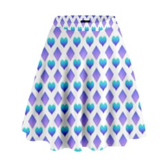 Diamond Heart Card Purple Valentine Love Blue High Waist Skirt by Jojostore