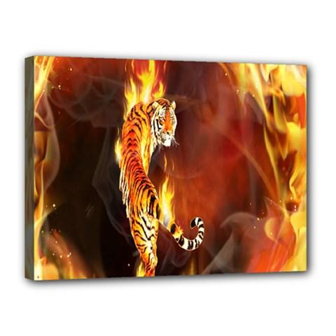 Fire Tiger Lion Animals Wild Orange Yellow Canvas 16  X 12  by Jojostore