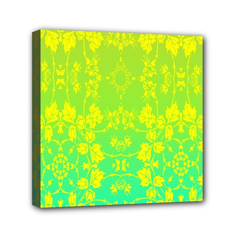 Floral Flower Leaf Yellow Blue Mini Canvas 6  X 6  by Jojostore