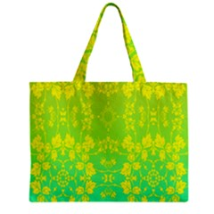 Floral Flower Leaf Yellow Blue Zipper Mini Tote Bag by Jojostore