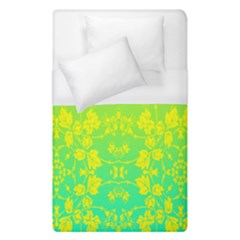 Floral Flower Leaf Yellow Blue Duvet Cover (single Size) by Jojostore