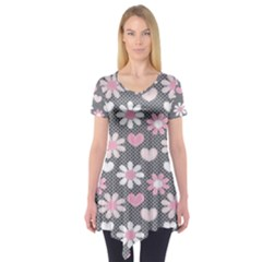 Flower Floral Rose Sunflower Pink Grey Love Heart Valentine Short Sleeve Tunic  by Jojostore