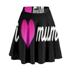 I Love Moom Mum Pink Valentine Heart High Waist Skirt by Jojostore