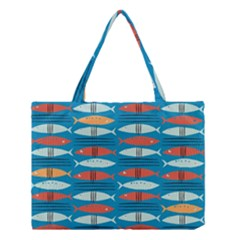 Go Fish  Fishing Animals Sea Water Beach Red Blue Orange Grey Medium Tote Bag by Jojostore