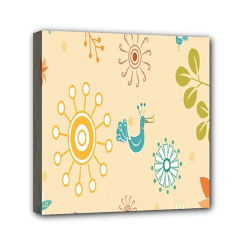 Kids Bird Sun Flower Floral Leaf Animals Color Rainbow Mini Canvas 6  X 6  by Jojostore