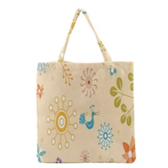 Kids Bird Sun Flower Floral Leaf Animals Color Rainbow Grocery Tote Bag