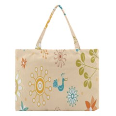Kids Bird Sun Flower Floral Leaf Animals Color Rainbow Medium Tote Bag by Jojostore