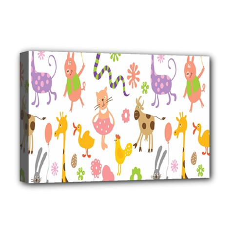 Kids Animal Giraffe Elephant Cows Horse Pigs Chicken Snake Cat Rabbits Duck Flower Floral Rainbow Deluxe Canvas 18  X 12   by Jojostore