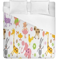 Kids Animal Giraffe Elephant Cows Horse Pigs Chicken Snake Cat Rabbits Duck Flower Floral Rainbow Duvet Cover (king Size) by Jojostore