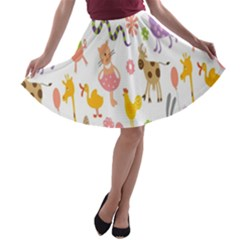 Kids Animal Giraffe Elephant Cows Horse Pigs Chicken Snake Cat Rabbits Duck Flower Floral Rainbow A Line Skater Skirt by Jojostore