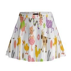 Kids Animal Giraffe Elephant Cows Horse Pigs Chicken Snake Cat Rabbits Duck Flower Floral Rainbow Mini Flare Skirt by Jojostore