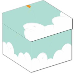 Minimalis Kite Clouds Orange Blue Sky Storage Stool 12   by Jojostore