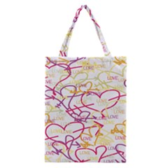 Love Heart Valentine Rainbow Color Purple Pink Yellow Green Classic Tote Bag by Jojostore