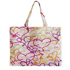 Love Heart Valentine Rainbow Color Purple Pink Yellow Green Zipper Mini Tote Bag by Jojostore