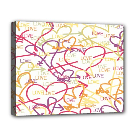 Love Heart Valentine Rainbow Color Purple Pink Yellow Green Deluxe Canvas 20  X 16   by Jojostore