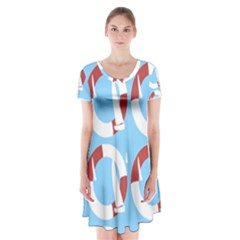 Sail Summer Buoy Boath Sea Water Short Sleeve V Neck Flare Dress by Jojostore