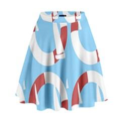 Sail Summer Buoy Boath Sea Water High Waist Skirt by Jojostore