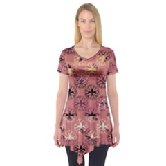 Overlays Pink Flower Floral Short Sleeve Tunic  by Jojostore