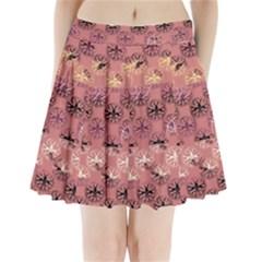 Overlays Pink Flower Floral Pleated Mini Skirt by Jojostore
