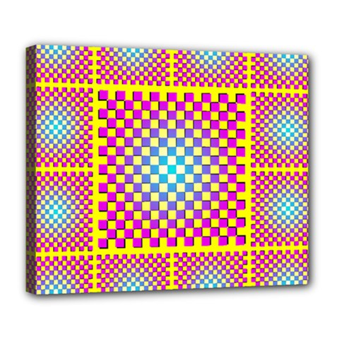 Rotational Plaid Purple Blue Yellow Deluxe Canvas 24  X 20   by Jojostore