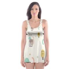 Slippers Lamp Glasses Ice Cream Grey Wave Water Skater Dress Swimsuit by Jojostore