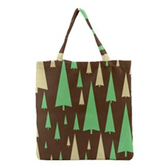 Spruce Tree Grey Green Brown Grocery Tote Bag