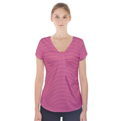 Tumblr Static Pink Wave Fingerprint Short Sleeve Front Detail Top