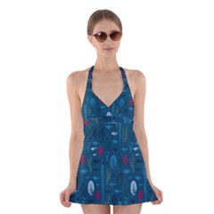 Sea World Fish Ccoral Blue Water Halter Swimsuit Dress by Jojostore