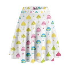 Umbrella Tellow Blue Red Pink Green Color Rain Kid High Waist Skirt by Jojostore