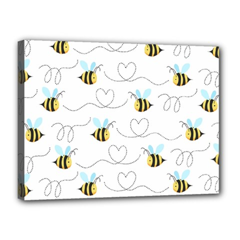 Wasp Bee Fly Yellow Black Blue Hanny Love Canvas 16  X 12  by Jojostore