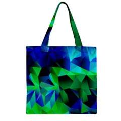Galaxy Chevron Wave Woven Fabric Color Blu Green Triangle Zipper Grocery Tote Bag by Jojostore